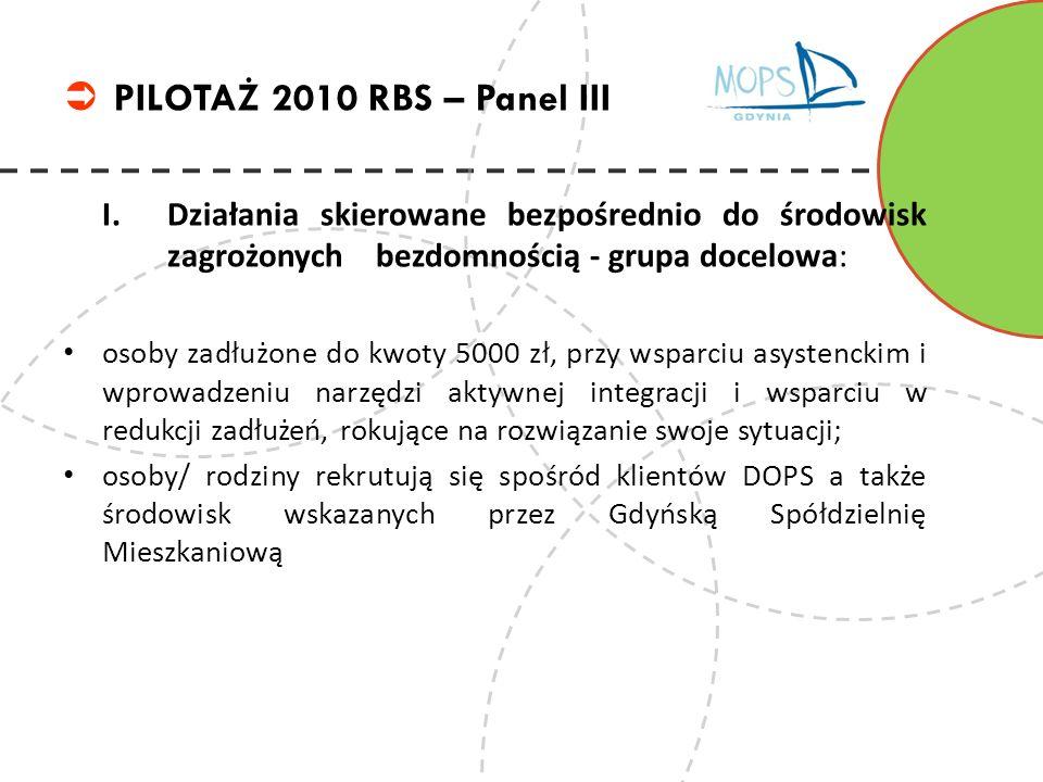 PILOTAŻ 2010 RBS – Panel III I. Działania skierowane bezpośrednio do środowisk zagrożonych bezdomnością - grupa docelowa: