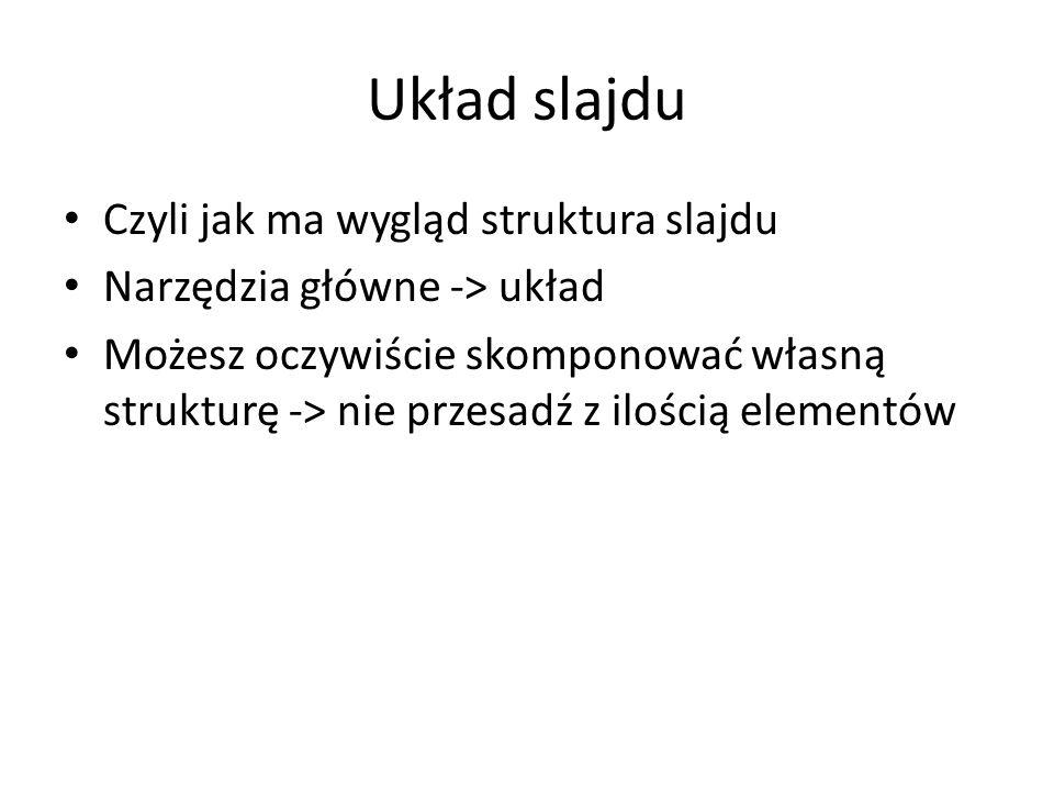 Układ slajdu Czyli jak ma wygląd struktura slajdu