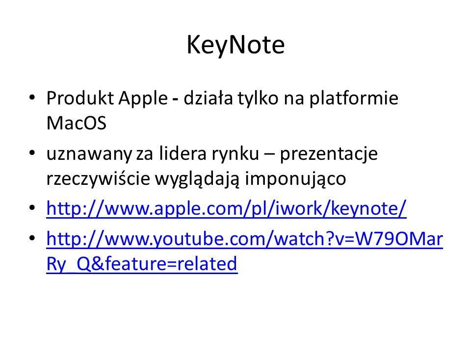 KeyNote Produkt Apple - działa tylko na platformie MacOS