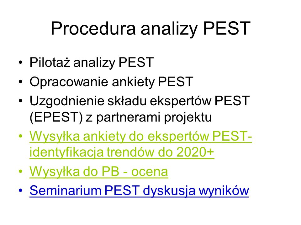 Procedura analizy PEST
