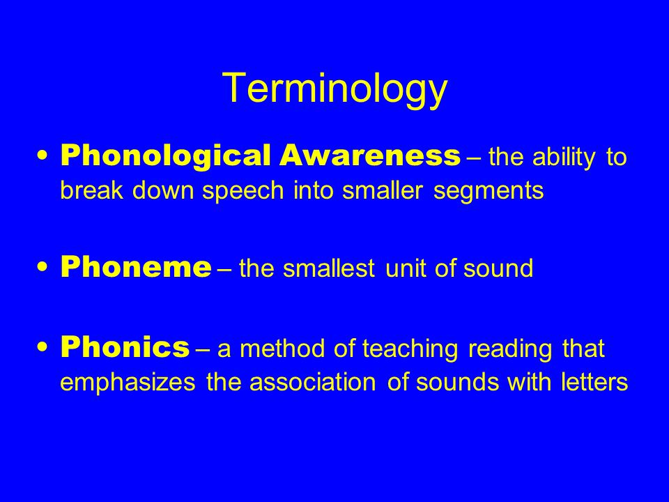 Terminology Phonological Awareness – the ability to break down speech into smaller segments. Phoneme – the smallest unit of sound.