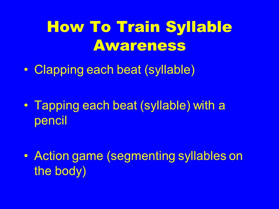How To Train Syllable Awareness