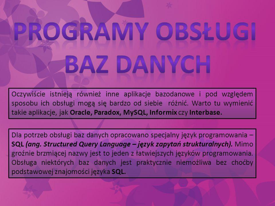Programy obsługi Baz danych