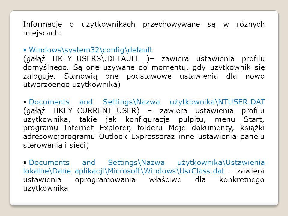 Informacje o użytkownikach przechowywane są w różnych miejscach: