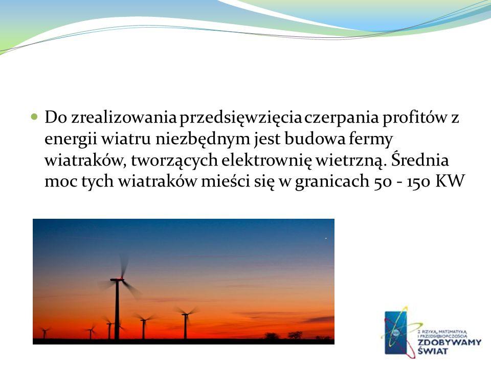 Do zrealizowania przedsięwzięcia czerpania profitów z energii wiatru niezbędnym jest budowa fermy wiatraków, tworzących elektrownię wietrzną.