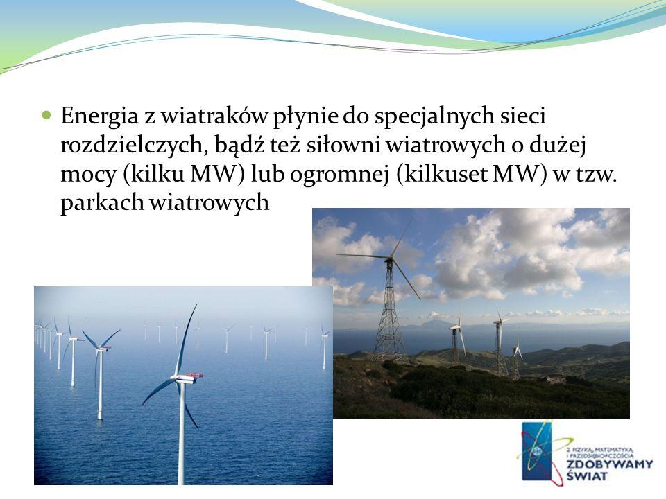 Energia z wiatraków płynie do specjalnych sieci rozdzielczych, bądź też siłowni wiatrowych o dużej mocy (kilku MW) lub ogromnej (kilkuset MW) w tzw.