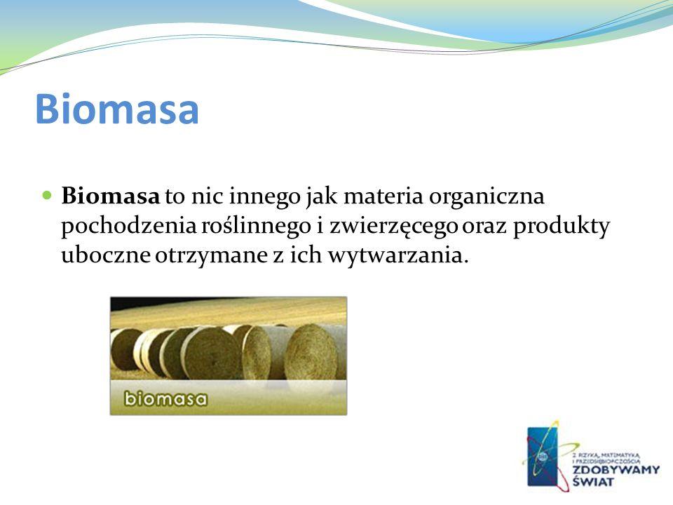 Biomasa Biomasa to nic innego jak materia organiczna pochodzenia roślinnego i zwierzęcego oraz produkty uboczne otrzymane z ich wytwarzania.
