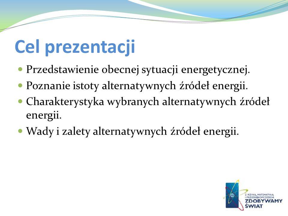 Cel prezentacji Przedstawienie obecnej sytuacji energetycznej.
