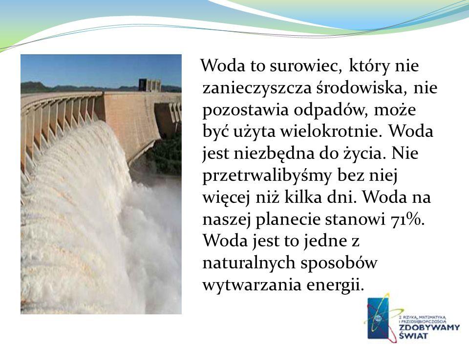 Woda to surowiec, który nie zanieczyszcza środowiska, nie pozostawia odpadów, może być użyta wielokrotnie.