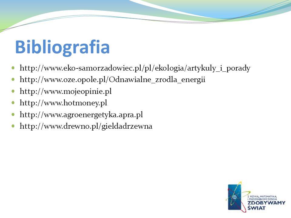 Bibliografia http://www.eko-samorzadowiec.pl/pl/ekologia/artykuly_i_porady. http://www.oze.opole.pl/Odnawialne_zrodla_energii.