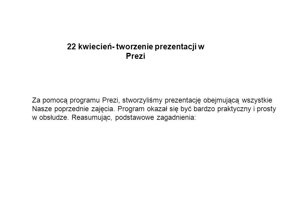 22 kwiecień- tworzenie prezentacji w Prezi
