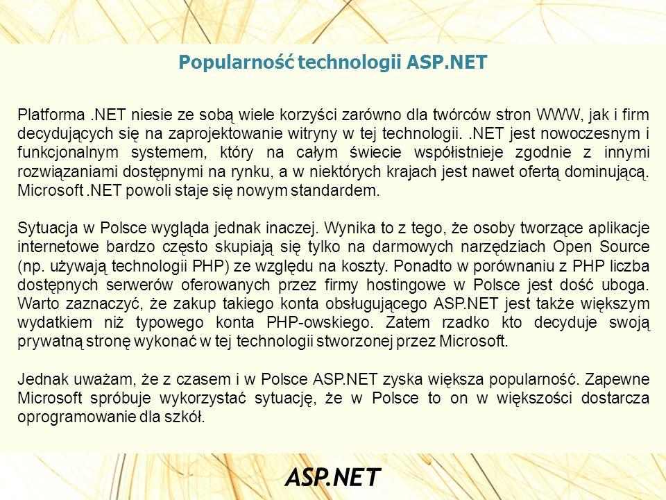 Popularność technologii ASP.NET