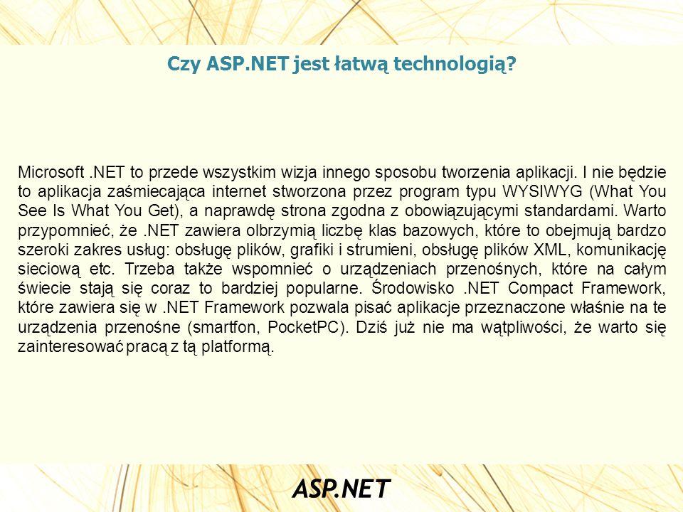 Czy ASP.NET jest łatwą technologią