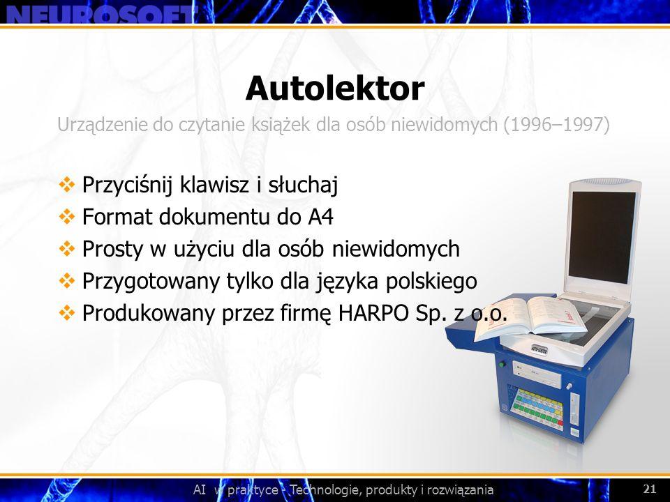 Autolektor Przyciśnij klawisz i słuchaj Format dokumentu do A4