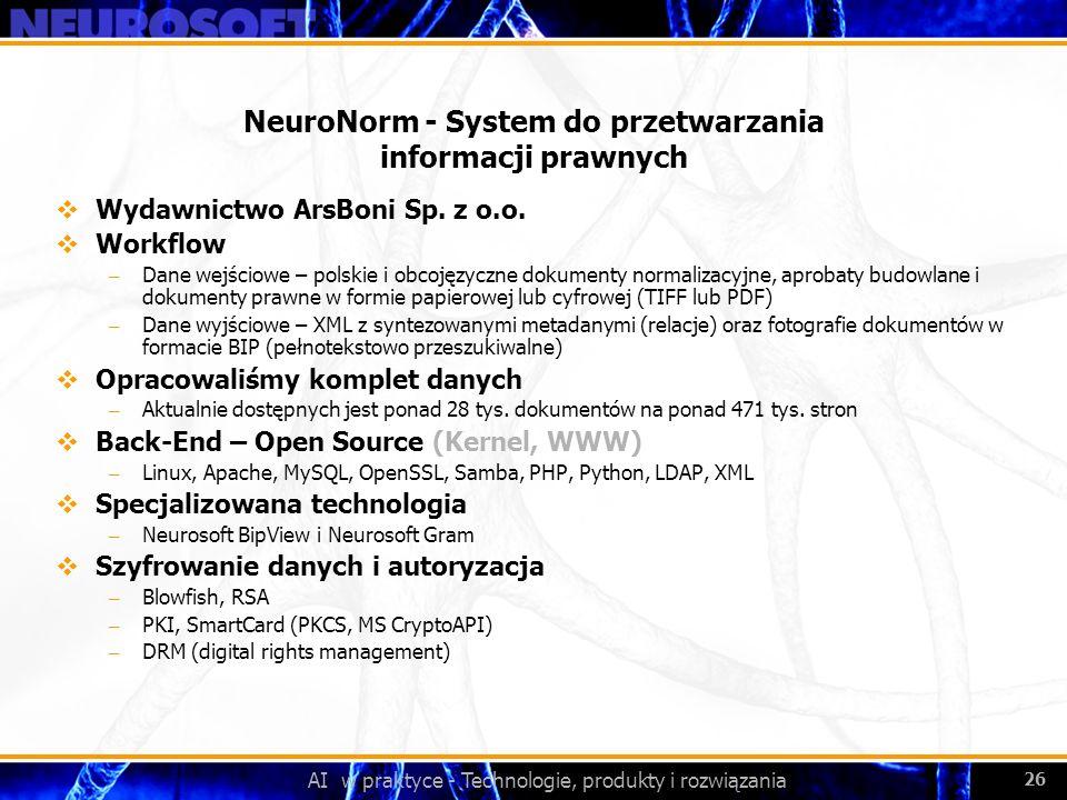 NeuroNorm - System do przetwarzania informacji prawnych