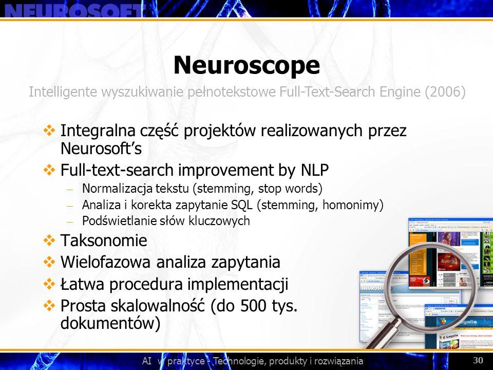 Neuroscope Integralna część projektów realizowanych przez Neurosoft's