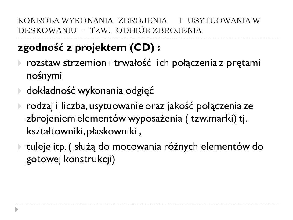 zgodność z projektem (CD) :