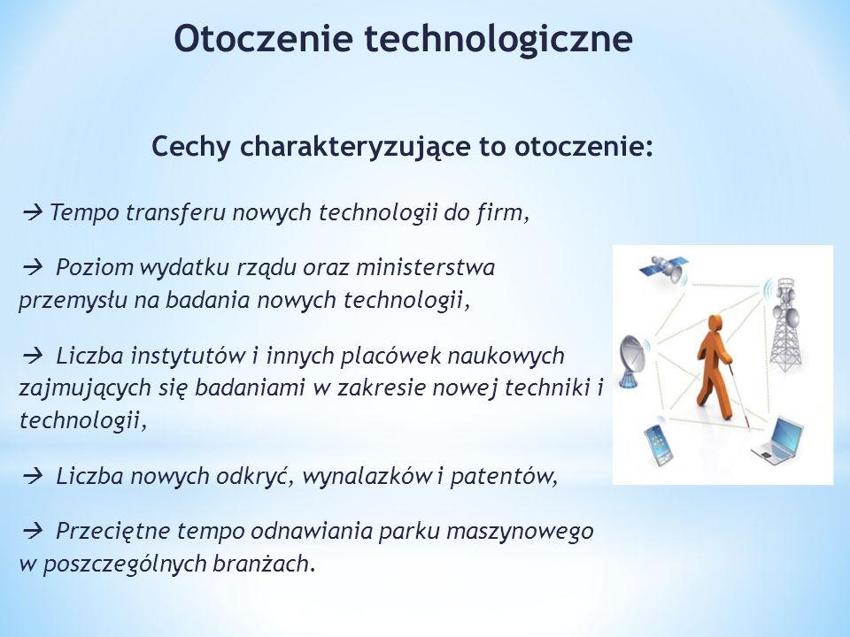 Otoczenie technologiczne Cechy charakteryzujące to otoczenie: