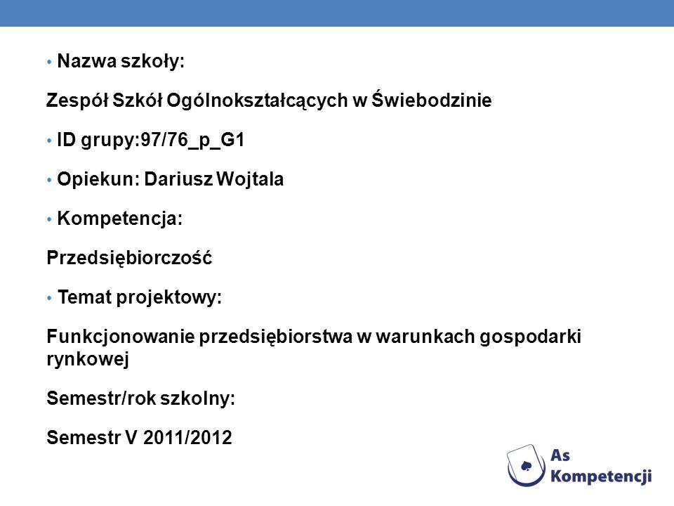 Nazwa szkoły: Zespół Szkół Ogólnokształcących w Świebodzinie. ID grupy:97/76_p_G1. Opiekun: Dariusz Wojtala.