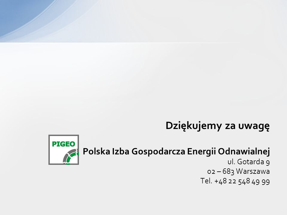 Dziękujemy za uwagę Polska Izba Gospodarcza Energii Odnawialnej