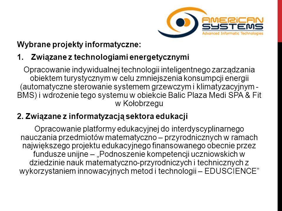 Wybrane projekty informatyczne: