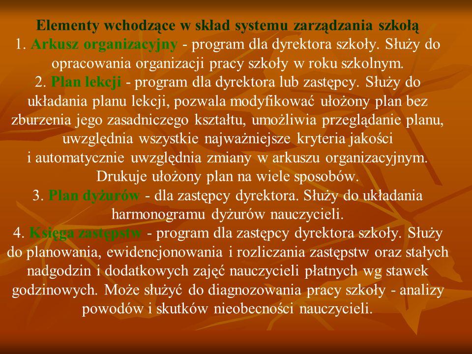 Elementy wchodzące w skład systemu zarządzania szkołą 1