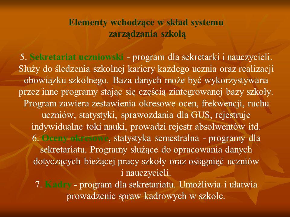 Elementy wchodzące w skład systemu zarządzania szkołą 5