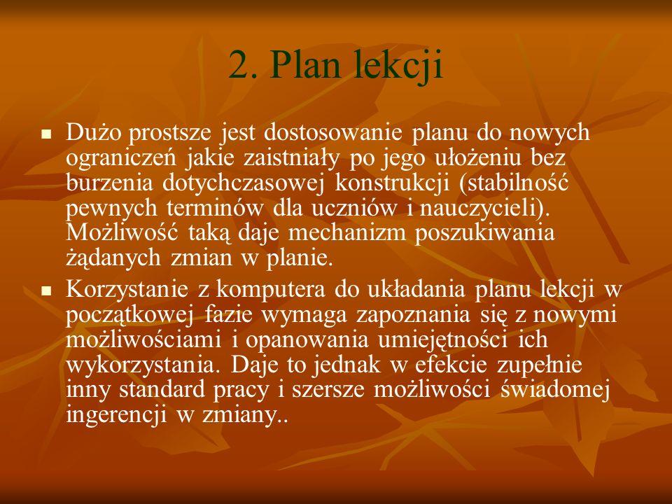 2. Plan lekcji