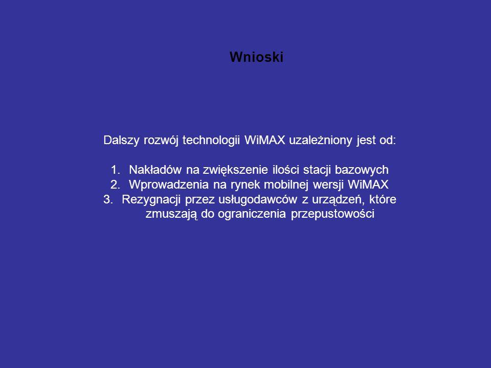 Wnioski Dalszy rozwój technologii WiMAX uzależniony jest od: