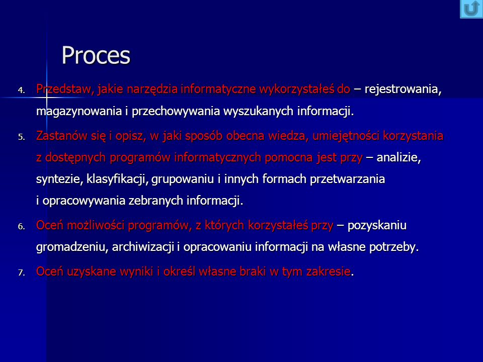 Proces Przedstaw, jakie narzędzia informatyczne wykorzystałeś do – rejestrowania, magazynowania i przechowywania wyszukanych informacji.