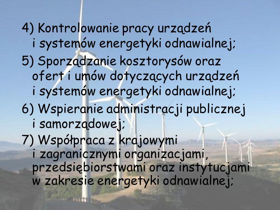 4) Kontrolowanie pracy urządzeń i systemów energetyki odnawialnej;