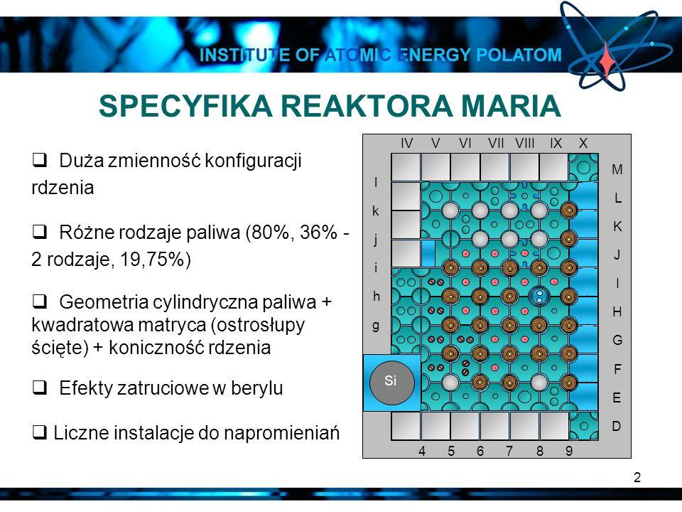 SPECYFIKA REAKTORA MARIA