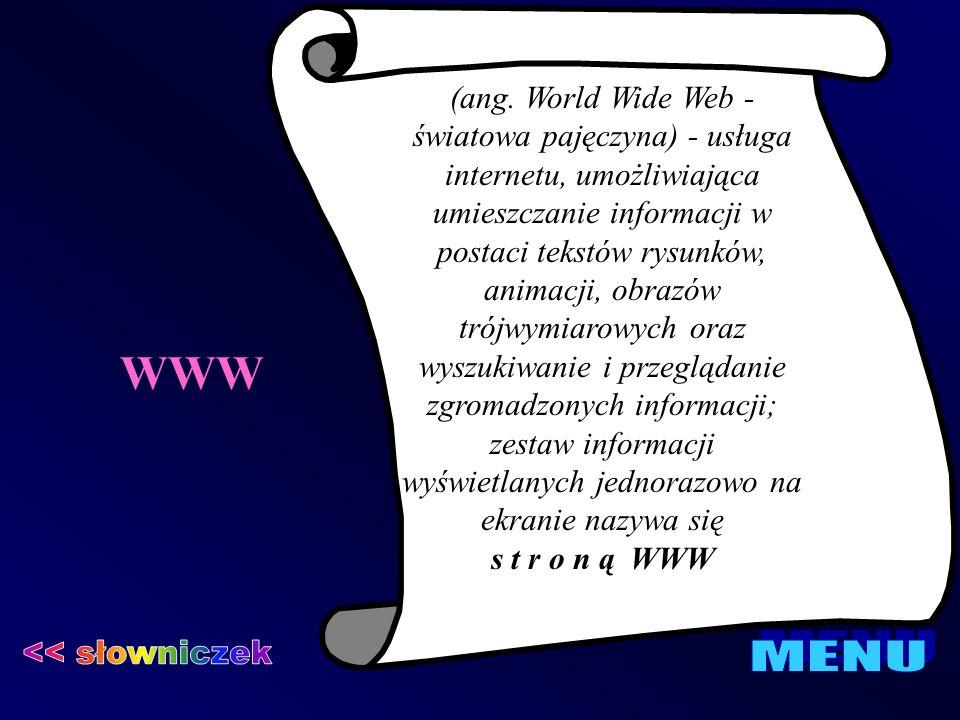 WWW << słowniczek MENU
