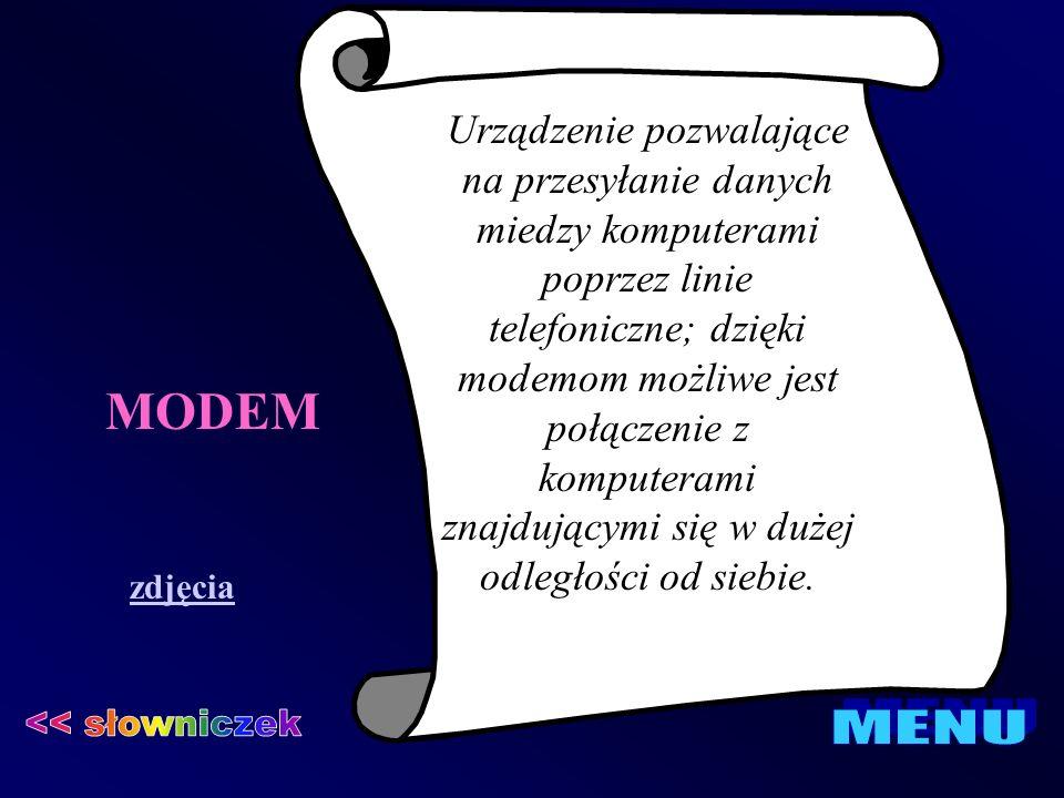 MODEM << słowniczek MENU
