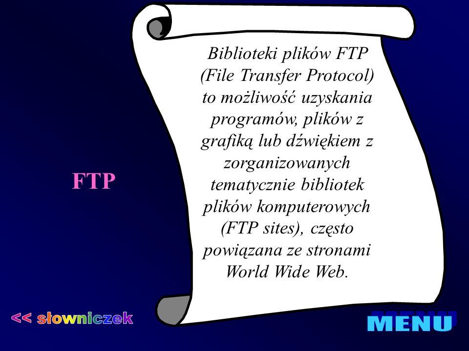 FTP << słowniczek MENU