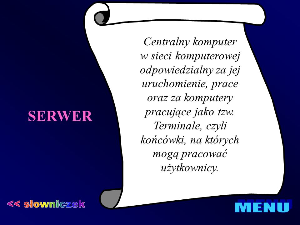 SERWER << słowniczek MENU