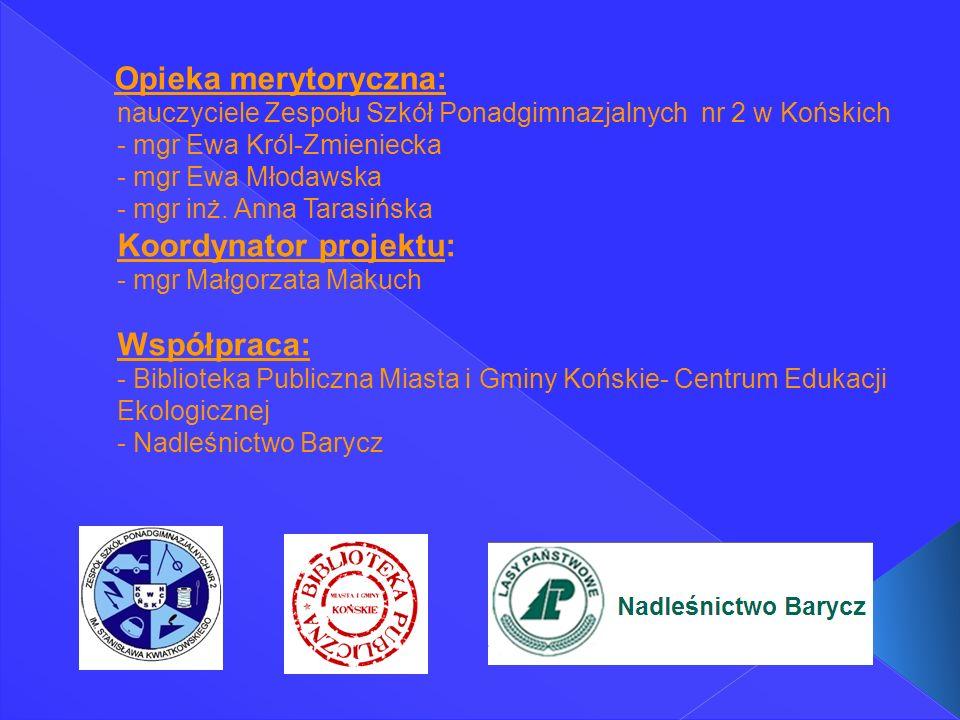 Opieka merytoryczna: nauczyciele Zespołu Szkół Ponadgimnazjalnych nr 2 w Końskich - mgr Ewa Król-Zmieniecka - mgr Ewa Młodawska - mgr inż.