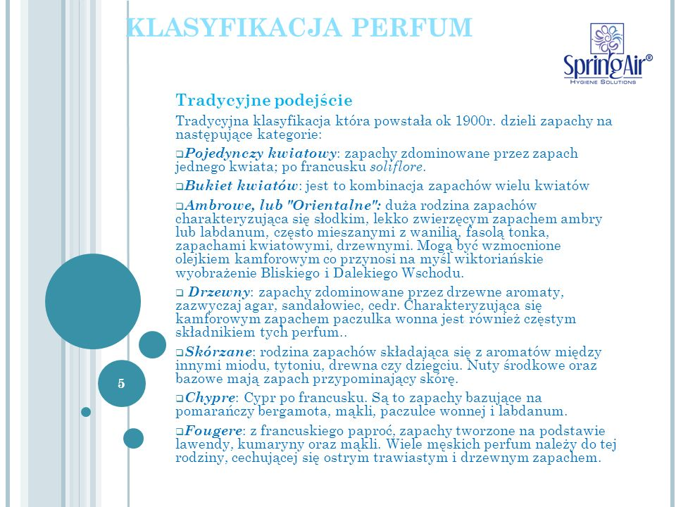 Classification of perfumes