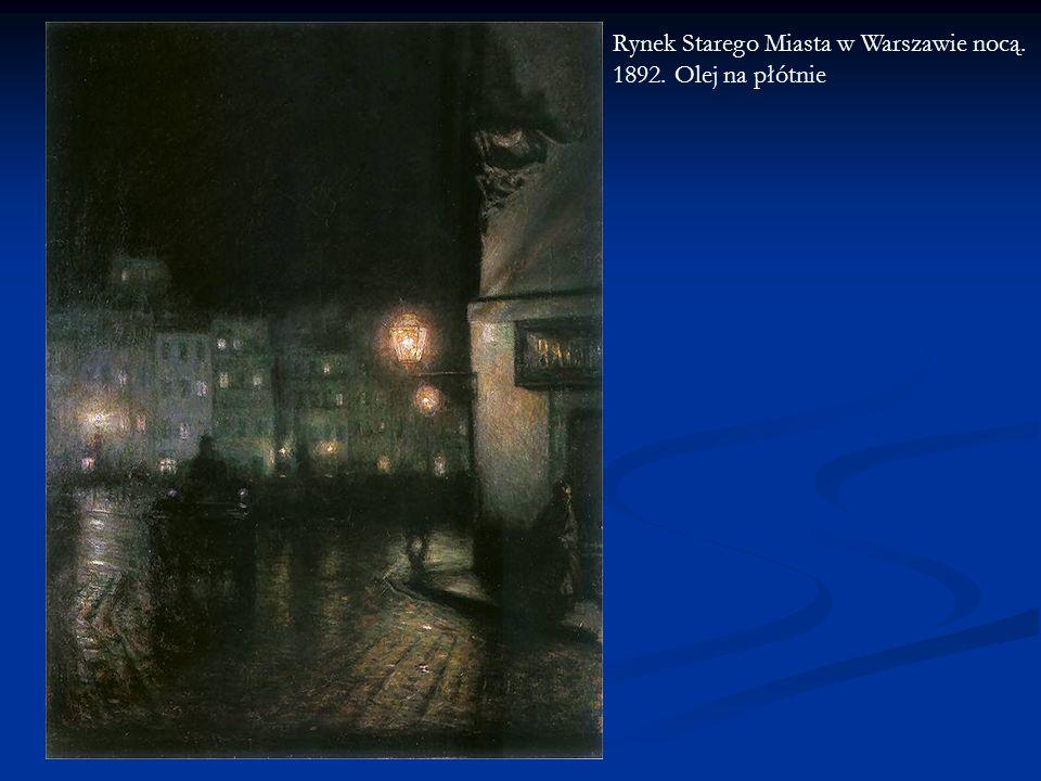 Rynek Starego Miasta w Warszawie nocą. 1892. Olej na płótnie