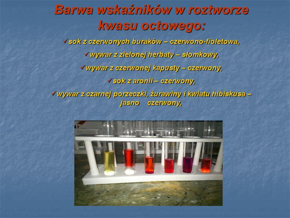 Barwa wskaźników w roztworze kwasu octowego: