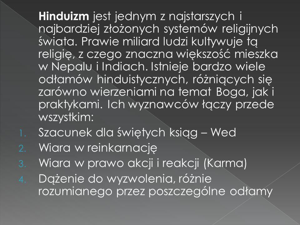 Hinduizm jest jednym z najstarszych i najbardziej złożonych systemów religijnych świata. Prawie miliard ludzi kultywuje tą religię, z czego znaczna większość mieszka w Nepalu i Indiach. Istnieje bardzo wiele odłamów hinduistycznych, różniących się zarówno wierzeniami na temat Boga, jak i praktykami. Ich wyznawców łączy przede wszystkim: