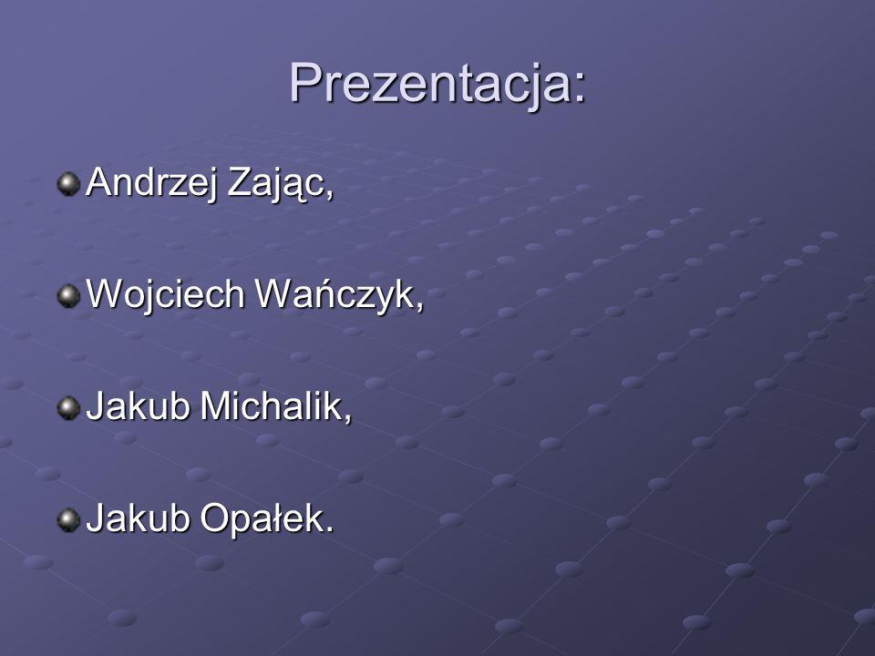 Prezentacja: Andrzej Zając, Wojciech Wańczyk, Jakub Michalik,