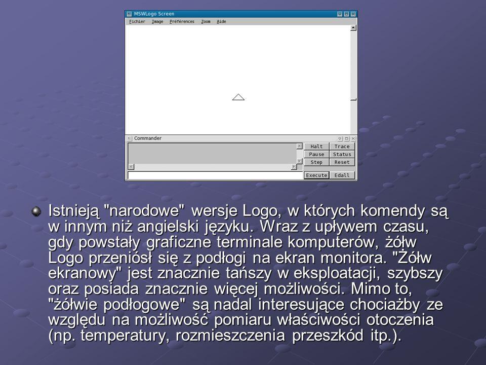 Istnieją narodowe wersje Logo, w których komendy są w innym niż angielski języku.