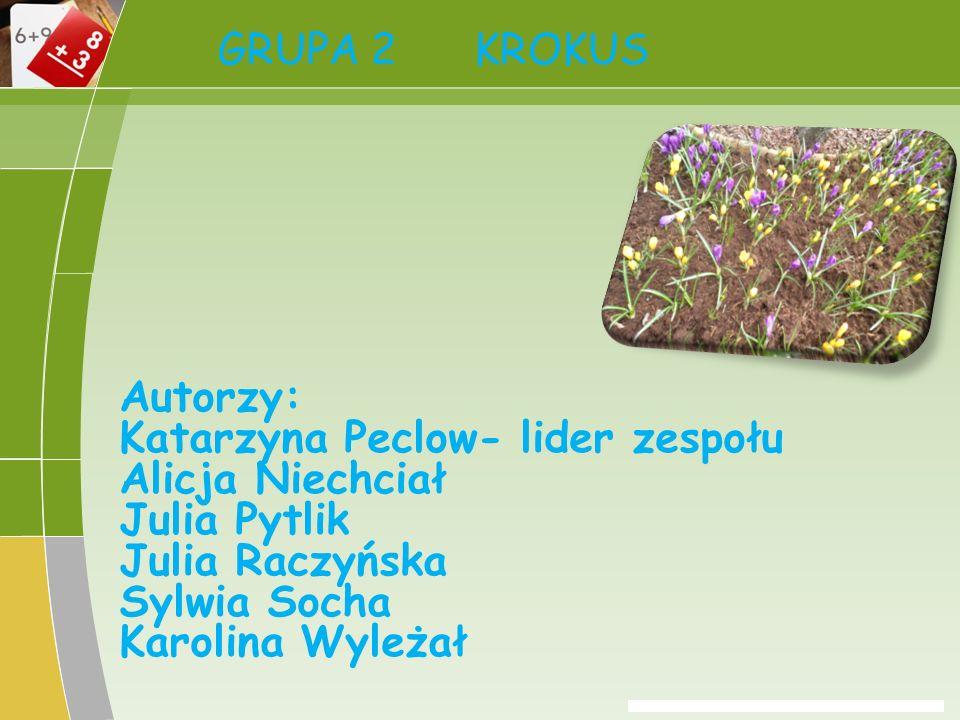 GRUPA 2 KROKUS Autorzy: Katarzyna Peclow- lider zespołu. Alicja Niechciał. Julia Pytlik. Julia Raczyńska.