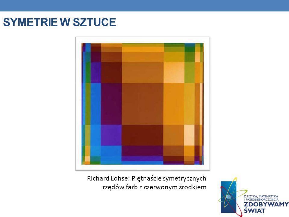 Symetrie w sztuce Richard Lohse: Piętnaście symetrycznych rzędów farb z czerwonym środkiem