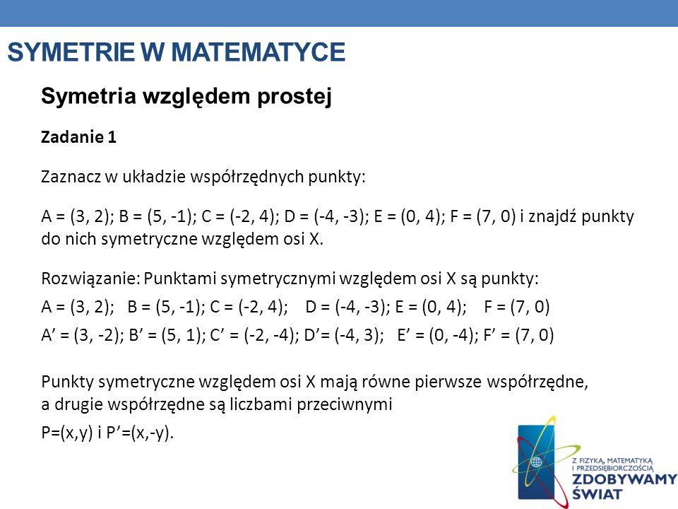 Symetrie w matematyce Symetria względem prostej Zadanie 1