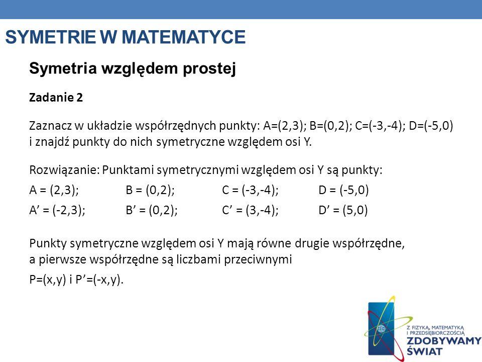 Symetrie w matematyce Symetria względem prostej Zadanie 2