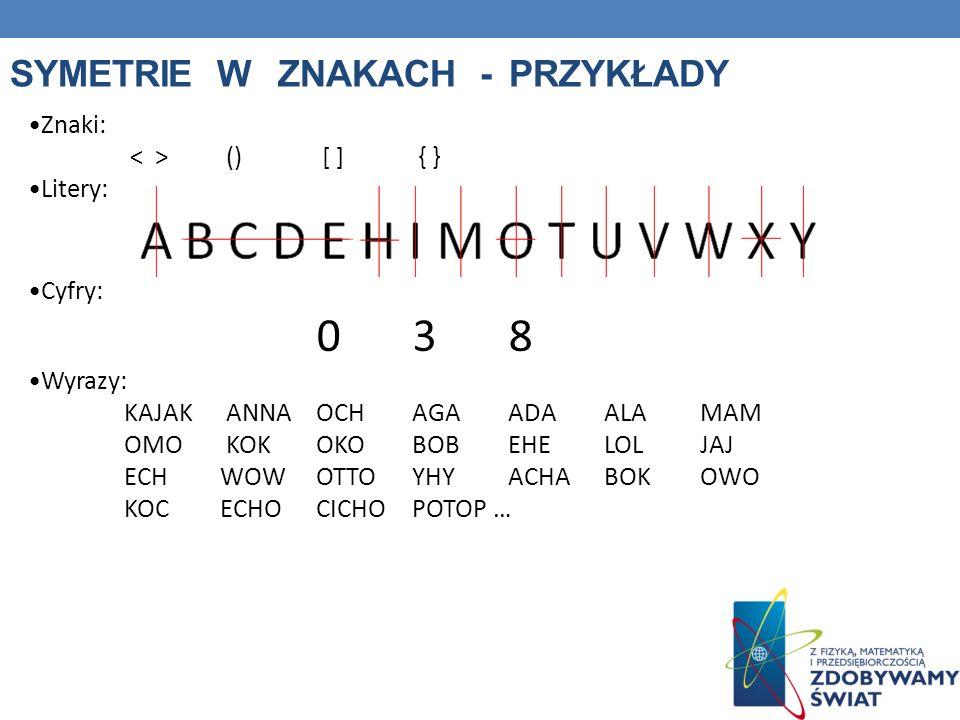 Symetrie w znakach - przykłady