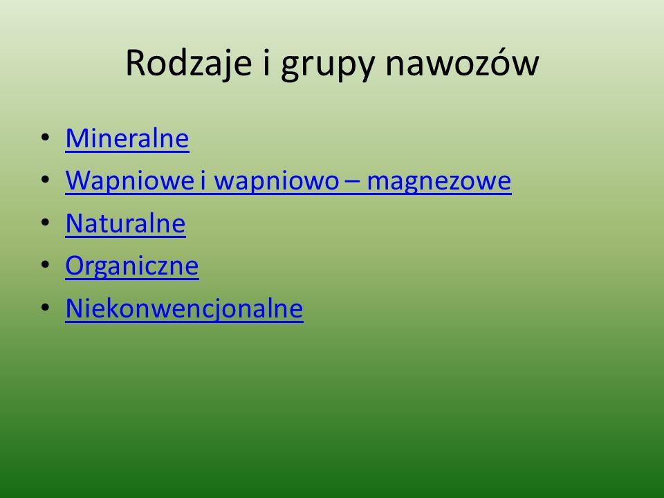 Rodzaje i grupy nawozów