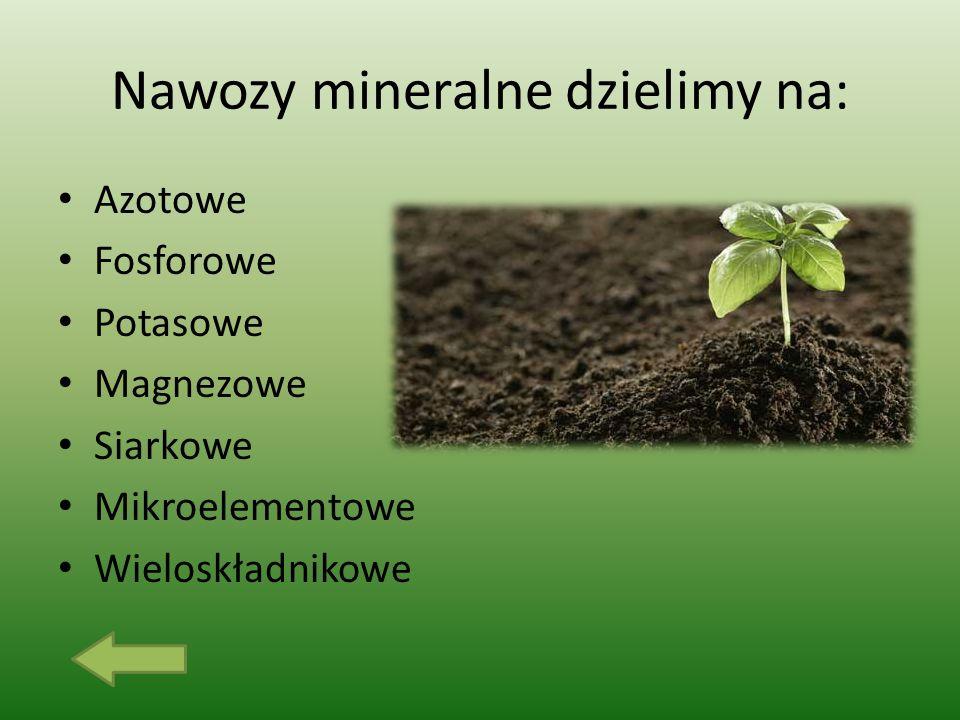Nawozy mineralne dzielimy na: